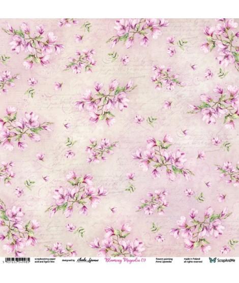 Лист бумаги 12х12 Blooming Magnolia от ScrapAndMe