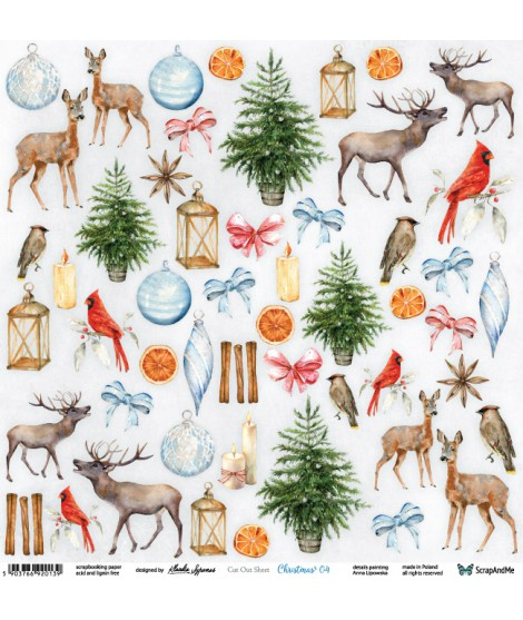 Лист бумаги 12х12 для вырезания Christmas 04  коллекция Holly Jolly Christmas  от ScrapAndMe