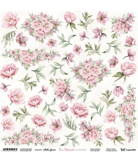 Лист бумаги 12х12 для вырезания Nice Moments Flowers от ScrapAndMe