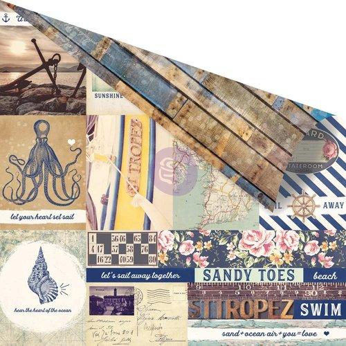 Prima Marketing St. Tropez Collection - 12 x 12 Лист бумаги - Port of St. Tropez with Foil Accents