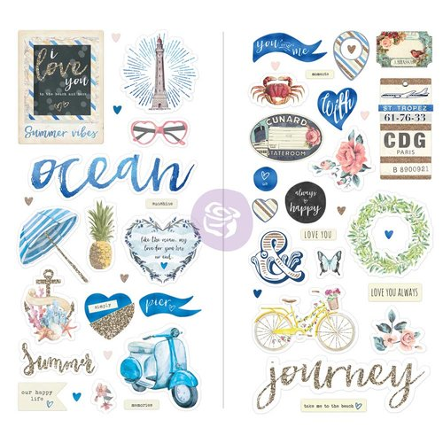 Prima Marketing St. Tropez Collection - Chipboard Stickers and More with Glitter and Foil Accents